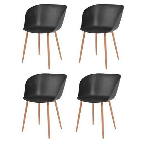 vidaXL Komplet 4 krzeseł, czarne, plastikowe siedziska i stalowe nogi, kolor czarny