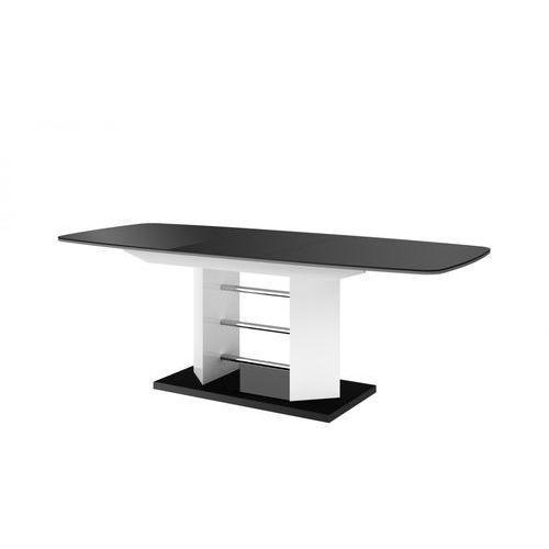 Hubertus design Stół rozkładany linosa 3 140cm czarno-biały wysoki połysk