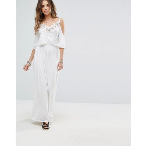 lace cold shoulder maxi dress - white, Boohoo