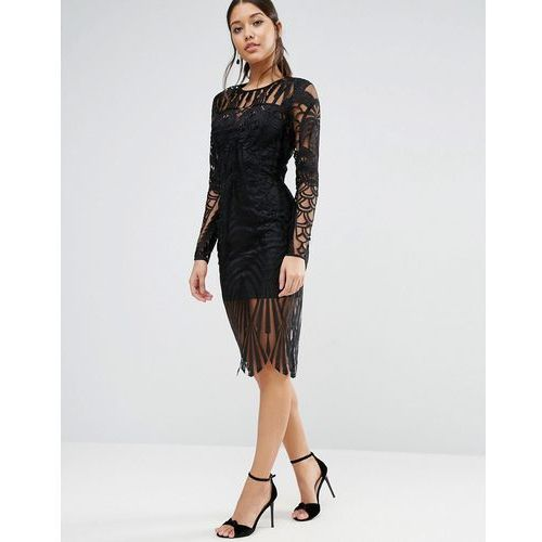 ASOS Lace Placed Long Sleeve Midi Dress - Black