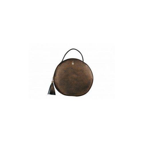 Wojewodzic Złoto-brązowa okrągła torebka skórzana w1791/fo55/z