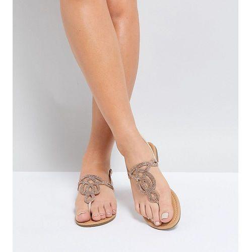 Park lane wide fit embellised flat sandals - beige