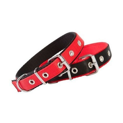 Dingo Obroża taśma polipropylenowa podwójnie zszywana 2,5cm/55cm czerwono-czarna
