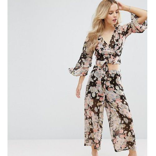 Asos petite  floral printed soft trouser co-ord - multi