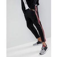 Mennace Skinny Track Joggers With Side Stripes In Black - Black, 1 rozmiar