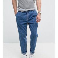 double pleat straight leg jeans in light wash blue - blue marki Noak