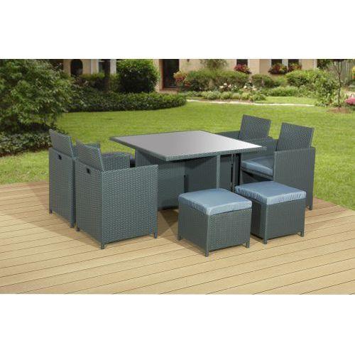 Meble stołowe z szarego technorattanu CRISTALLO, Outlet 64