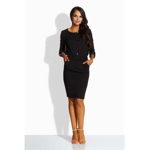 Czarna elegancka sukienka zapinana na guziki marki Lemoniade