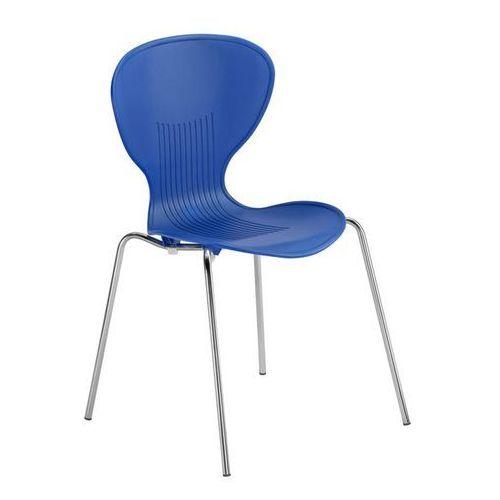 Krzesło z siedziskiem z tworzywa, szkielet chromowany, siedzisko niebieskie, opa marki Friwa sitzmöbel