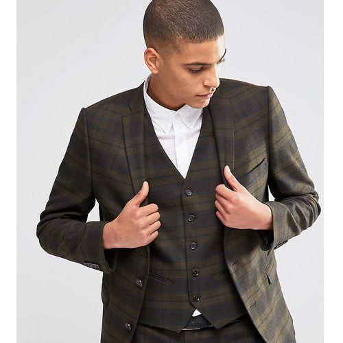 Selected homme suit jacket with check in skinny fit with stretch - green
