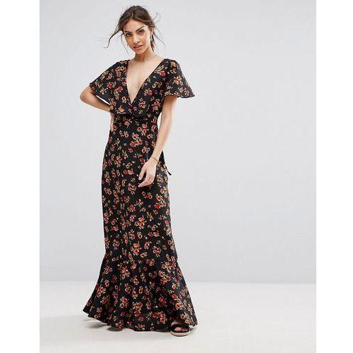 Boohoo Plunge Neck Floral Maxi Dress - Black, kolor czarny