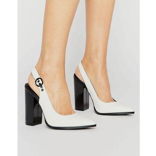New look  monochrome leather look slingback pointed heel - multi