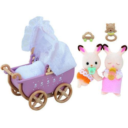 Epoch Sylvanian families zestaw z bliźniakami królików z czekoladowymi uszkami (wózek dziecięcy) (8711915022064)