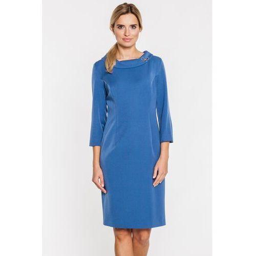 Sukienka w kolorze niebieskim z ozdobnym kołnierzem - Metafora, 1 rozmiar