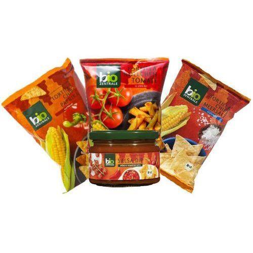 Chipsy Tortilla Pomidor/Sól/Papryka 3x125g + Dip Salsa 200ml - Bio Zentrale