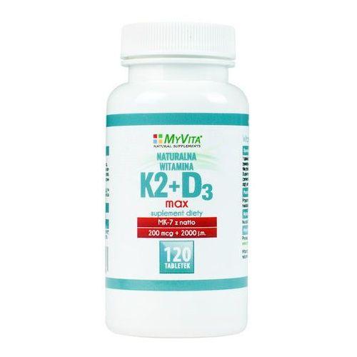 Tabletki Witamina K2 MK-7 K2MK7 MAX 200mcg + D3 2000IU 120 tabletek MyVita