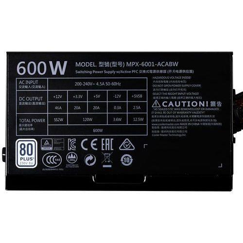 Zasilacz COOLER MASTER Masterwatt Lite 600W + DARMOWY TRANSPORT!