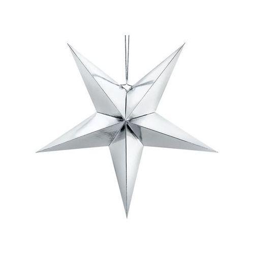 Dekoracja wisząca gwiazda papierowa srebrna - 70 cm