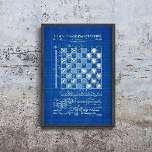 Vintageposteria.pl Plakat w stylu vintage plakat w stylu vintage checker and chess board truskoski patenet