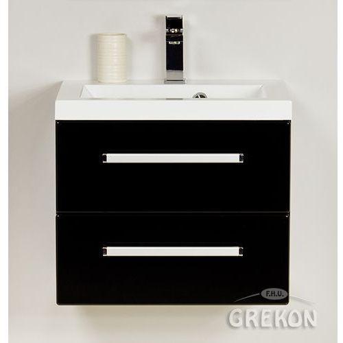 Szafka wisząca kolor czarny z umywalką 50/39/2 seria fokus c marki Gante
