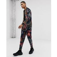 joggers in velvet floral print - black, Jaded london, XS-XL