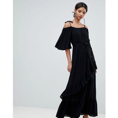 Y.A.S cold shoulder maxi dress with ruffles in black - Black, w 3 rozmiarach