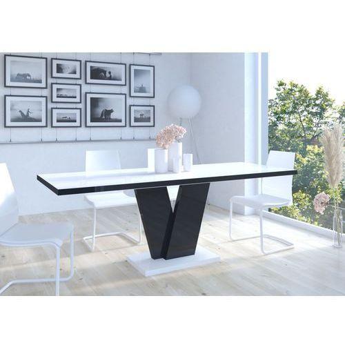 Stół Niko II 130-210 Biało-czarny wysoki połysk