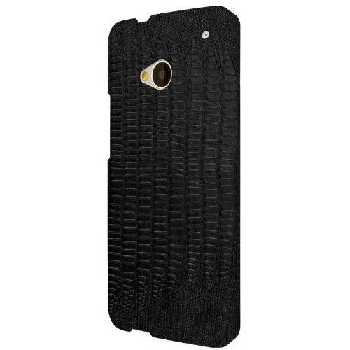 klix slim-fit twarde etui case futerał na telefon komórkowy dla htc one m7 – czarna skóra leather croc (displaysch marki Empire