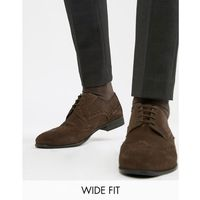 Kg by kurt geiger wide fit brogues in brown suede - brown marki Kg kurt geiger