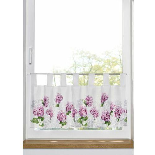 Bonprix Nieprześwitująca zazdrostka z cyfrowym nadrukiem w kwiaty biało-lila-zielony