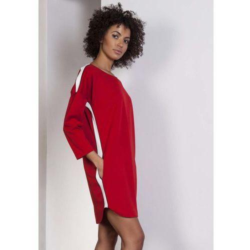 Czerwona Luźna Sportowa Mini Sukienka z Lampasami