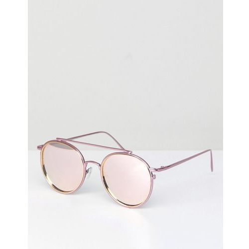 ASOS DESIGN high bar round sunglasses in pink with rose gold flash lens - Pink, kolor różowy
