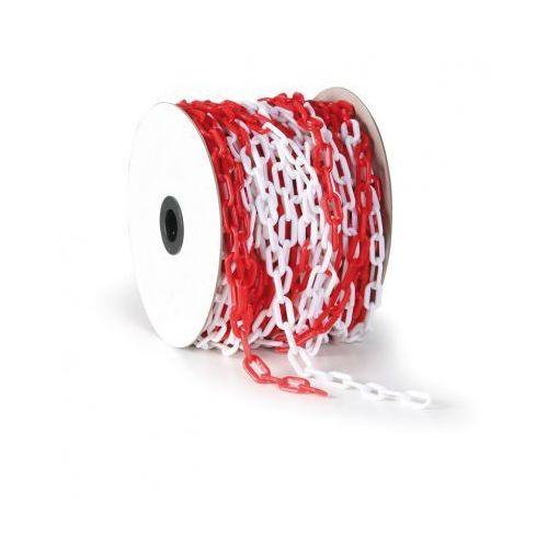 Łańcuch plastikowy, długość 50 m, czerwono-biały