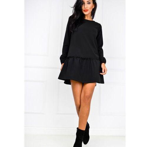 Sukienka oversize z falbaną i ściągaczami, kolor czarny
