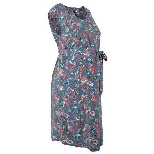Bonprix Sukienka ciążowa indygo wzorzysty