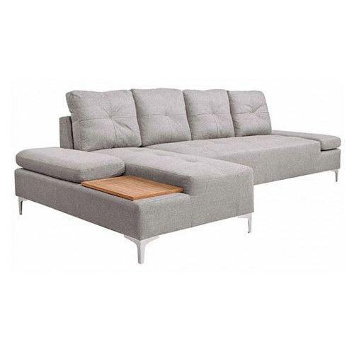 Vidaxl sofa w kształcie l, kremowoszara, taca drewniana, xxl, 300 cm