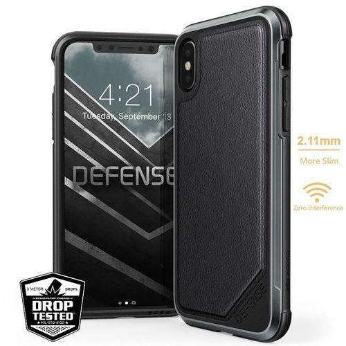 defense lux - etui aluminiowe iphone xs / x (drop test 3m) (black leather) marki X-doria