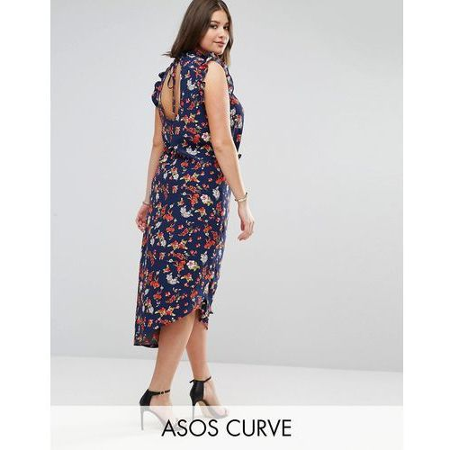 Asos curve  maxi tea dress with cut out back detail in grunge floral print - multi