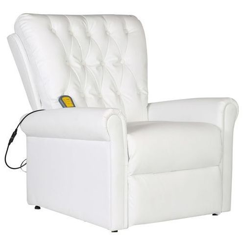 vidaXL Elektryczny fotel masujący z eko-skóry, regulowany, biały (8718475917014)