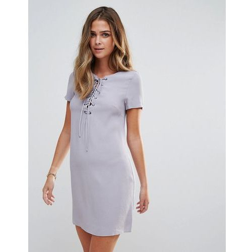 Glamorous Lace Up Shift Dress - Blue, 1 rozmiar