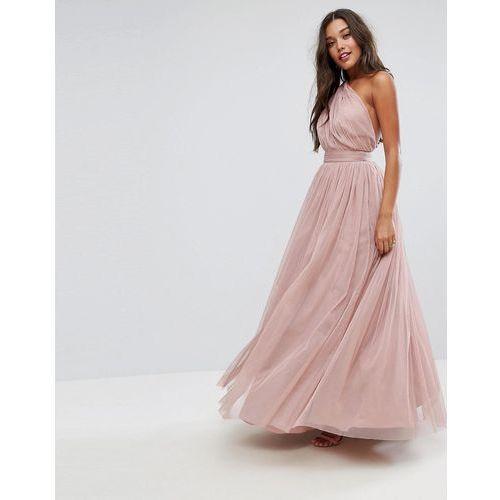 premium tulle one shoulder maxi dress - pink, Asos