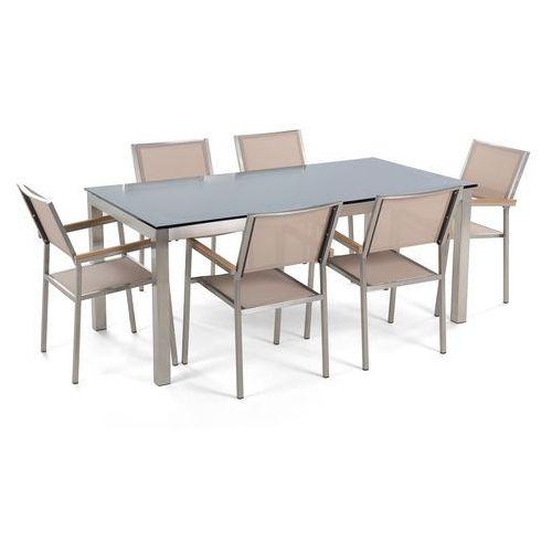 Stół szklany czarny - 180 cm - z 6 beżowymi krzesłami - grosseto marki Beliani