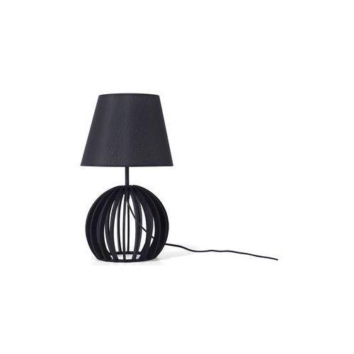 Beliani Lampa stołowa drewniana czarna samo