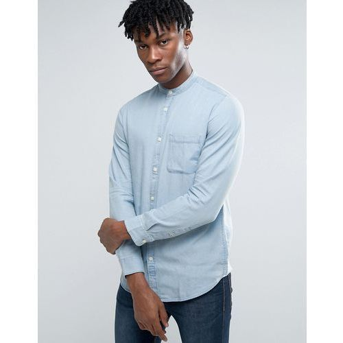 Selected homme long sleeve slim fit shirt with grandad collar in washed indigo - blue