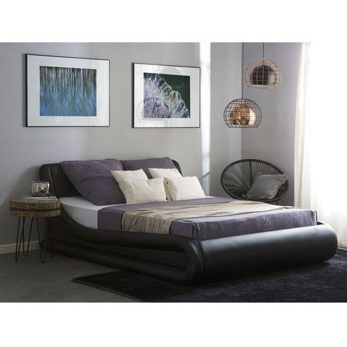 Łóżko czarne ze schowkiem skóra ekologiczna 180 x 200 cm cm avignon marki Beliani