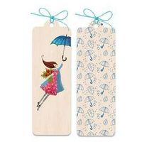 Zakładka drewniana Kobieta z parasolem