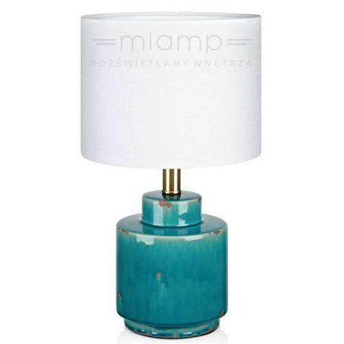 Biurkowa LAMPKA stojąca COUS 106606 Markslojd abażurowa LAMPA stołowa biała niebieska antyczna