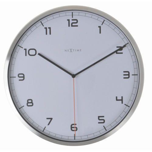 NeXtime - zegar ścienny Company 35 cm - biały, kolor biały