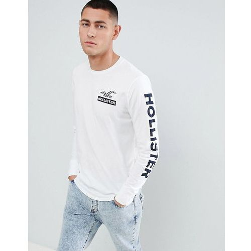 Hollister Checkerboard Back Print Logo and Sleeve Logo Long Sleeve Top in White - White