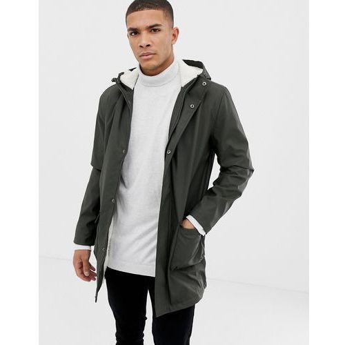 fishtail hooded parka with borg lining - green marki French connection